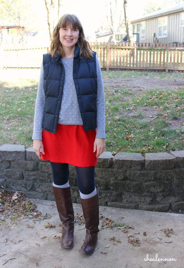skirt with puffer vest and boots - winter outfit idea | www.shealennon.com
