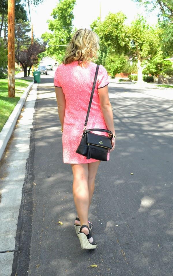 pink banana republic dress, nevada fashion blog, style blogger, black kate spade purse