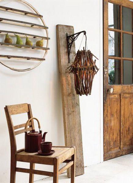 Luminária reutilize madeira rústica