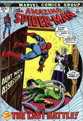Amazing Spider-Man #115, Dr Octopus. Aunt May threatens to shoot Spider-Man