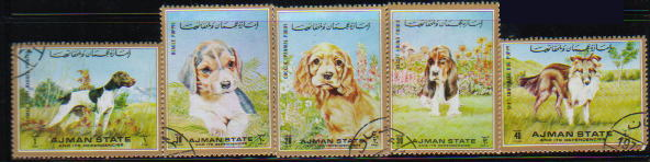 1972年アジマン ジャーマン・ショートヘアード・ポインター ビーグル コッカー・スパニエル バセット・ハウンド シェットランド・シープドッグの切手