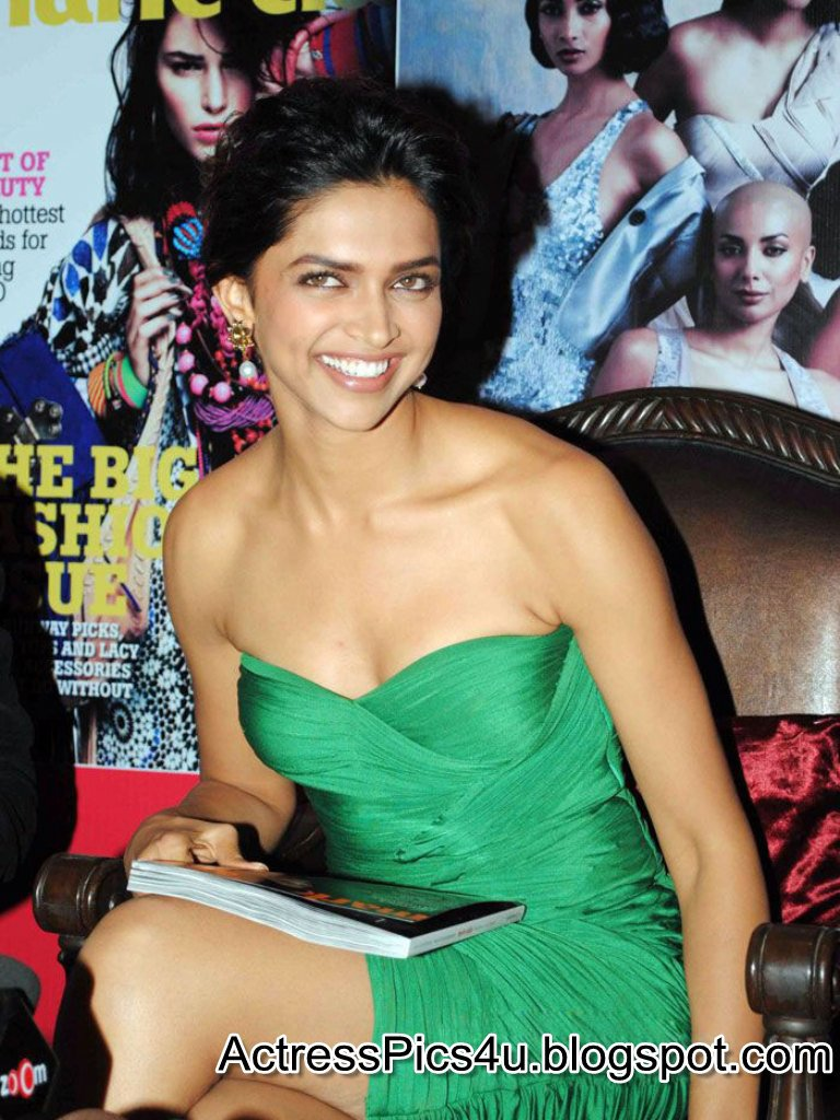 Deepika Padukone1 - Deepika Padukone in Green Dress At Marie Claire Magazine Launch
