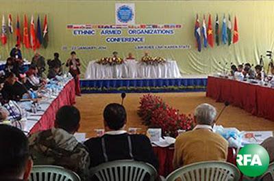 KNU ထိန္းခ်ဳပ္နယ္ေျမ ေလာ္ခီးလာ ေခၚ ေလး၀ါးေဒသမွာ ၂ဝ၁၄ ခုနွစ္ ဇန္နဝါရီလ ၂ဝ ရက္ေန႔က စတင္က်င္းပေနေသာ တိုင္းရင္းသား လက္နက္ကိုင္အဖဲြ႔မ်ား ေဆြးေႏြးပြဲကို ေတြ႔ရစဥ္ Photo: RFA/ Sai HTun Aung Lwin