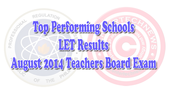 Top Performing Schools for LET Teachers Board Exam Result for August 2014