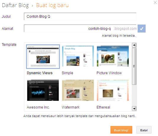 judul dan alamat blog baru