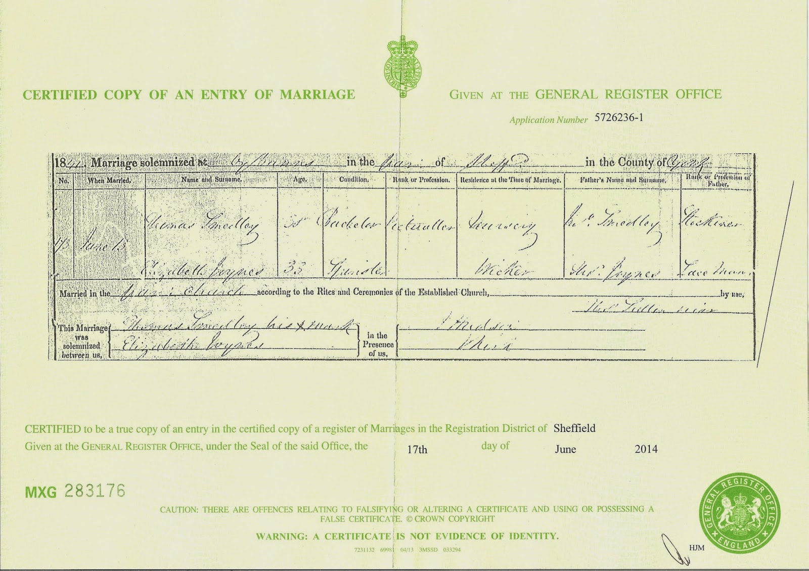 Ancestors live here thomas smedley and elizabeth joynes marriage thomas smedley and elizabeth joynes marriage certificate 1betcityfo Gallery