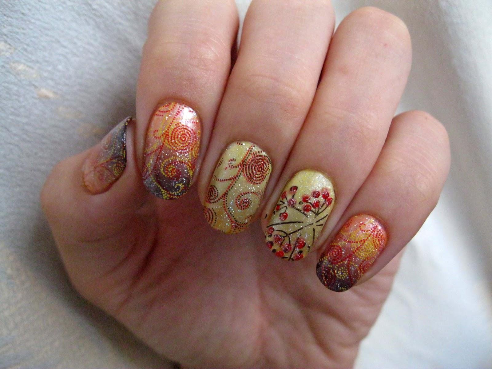 Красивый рисунок на ногтях осенью фото