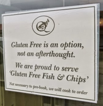 I couldn't of put it better myself. The Quayside Fish & Chip shop and restaurant in Whitby has the right idea when it comes to serving up gluten free food