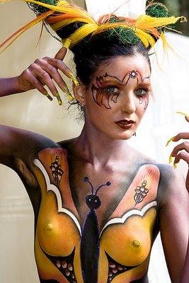 art gallery full body paint girl variety