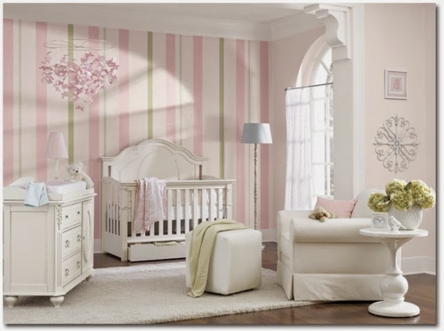 Wall paint ideas for baby nursery room Baby girl room ideas