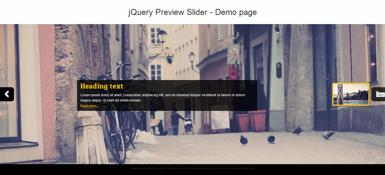 jQuery Preview Slider – for WordPress