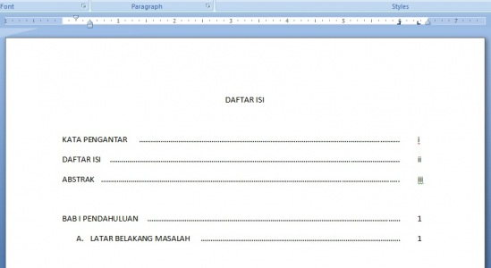 Daftar isi MS Word