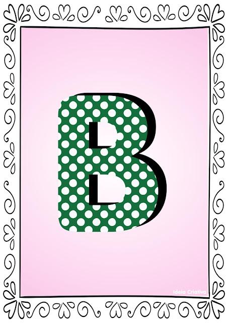 Alfabeto Poá Colorido com Borda Letra B