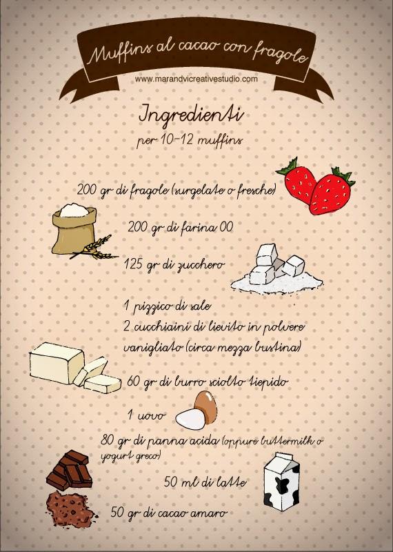 Ricetta muffins al cacao con fragole