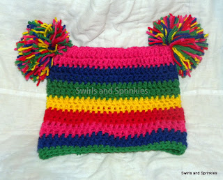 Swirls and Sprinkles: Crochet square pom hat.  Adult size.