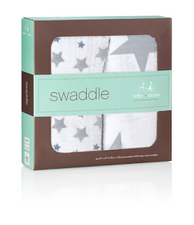 Aden + Anais Twinkle Swaddle. Shown in an aden + anais gift box.