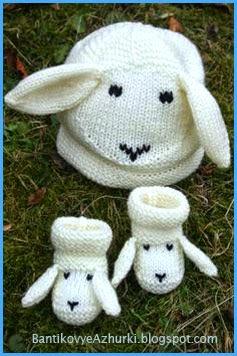 """вязанные шапочка и пинетки для ребенка """"овечка"""""""