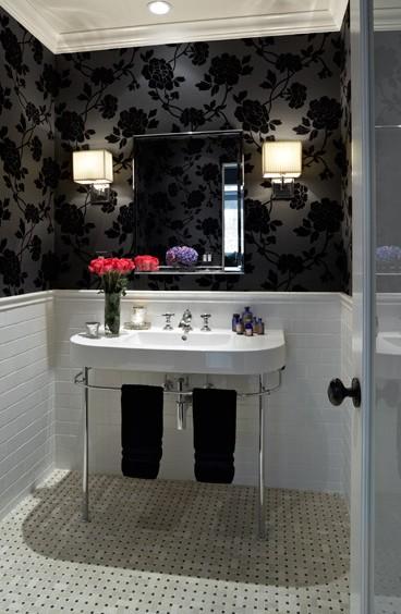 Baños Elegantes Blancos:Decoración de la Casa: Baños elegantes en blanco y negro