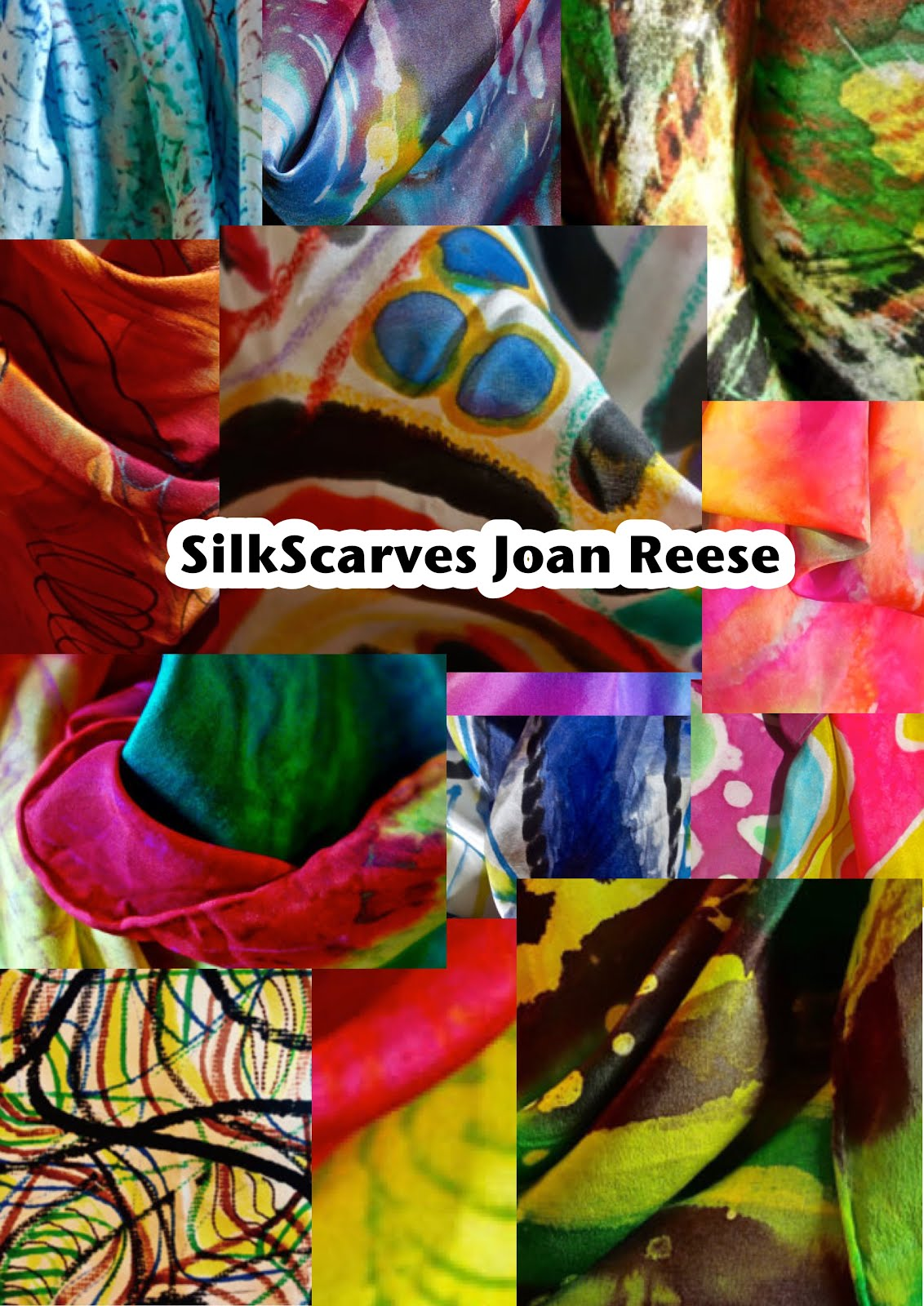 NYC Painted Silk Scarfs by Joan Reese