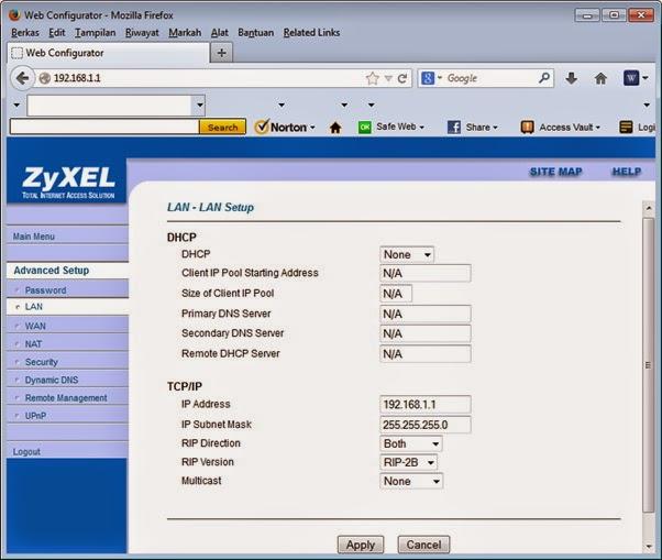 Web Configurator Advanced Setup - LAN Setup