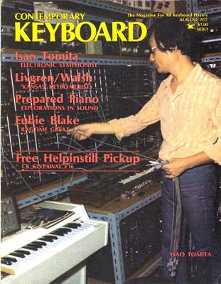 Isao Tomita en la portada de la revista Keyboard de agosto de 1977
