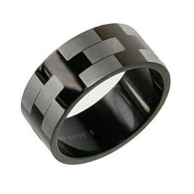 Bling Jewelry 8mm Matte Black Stainless Steel Mens Ring