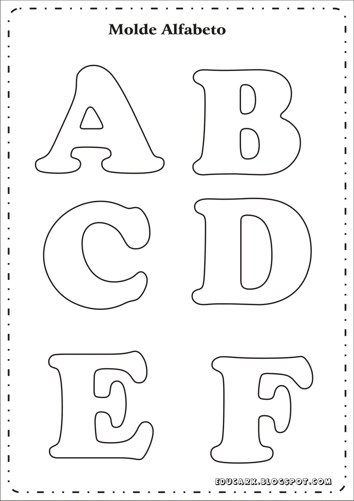 Modelo de letras para cartaz a b c d e f