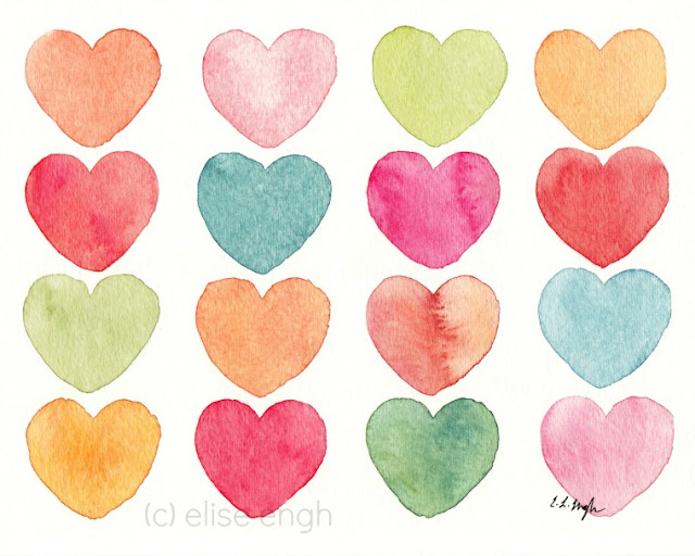 Watercolor Hearts Painting Giclee Print by Elise Engh