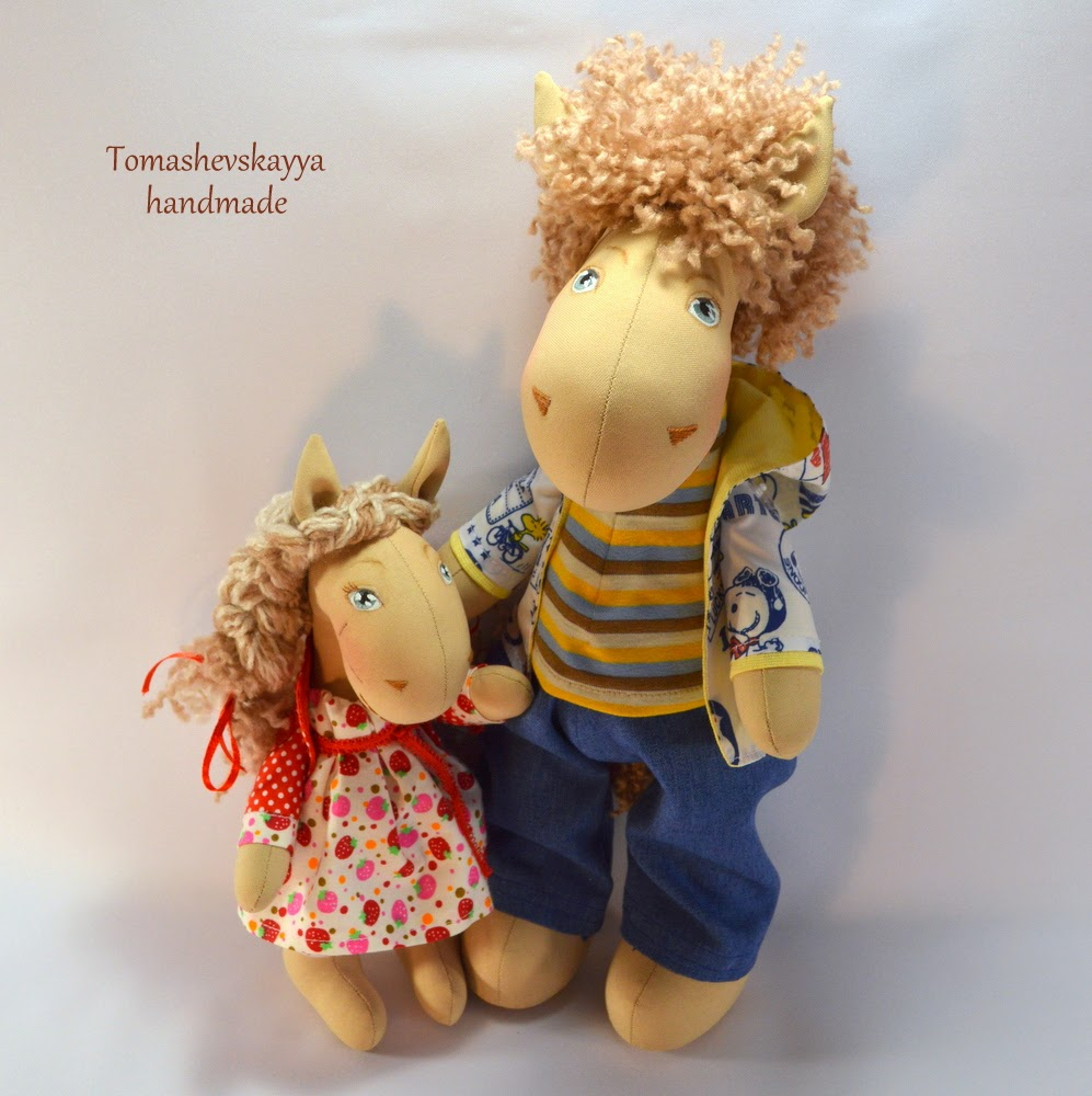 Текстильные лошадки. Папа и дочка. Картинка лошадки.