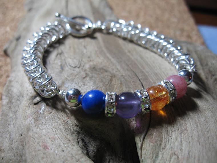 Birthgemstones combo Chain Maille Bracelet
