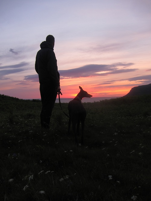 Fin and Smidgen at sunset on Mull