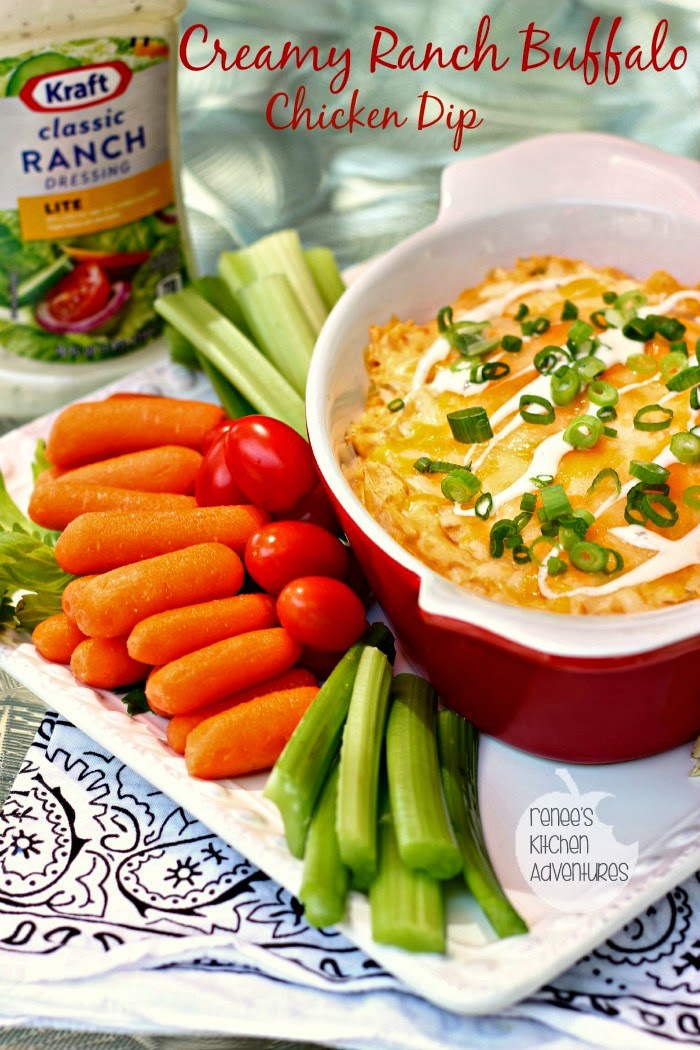 Creamy Ranch Buffalo Chicken Dip:  Lighter on calories but not on flavor!  #FoodDeservesDelicious #shop