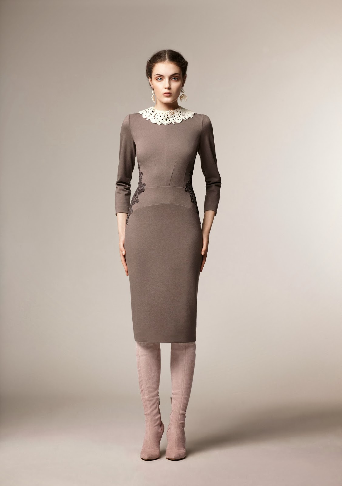Modest gray bodycon midi dress with long sleeves at Mode-sty