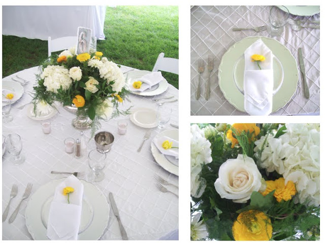 For the reception centerpieces were designed in silver Grecian urn vases featuring white hydrangea, Garden Roses, yellow ranunculus, calendula and dahlia with sprigs of fern and ivy for that secret garden look.  Each napkin had a canary yellow ranunculus tucked into the pocket