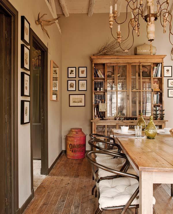 proyecto decoracion rustico vintage -comedor con vitrina