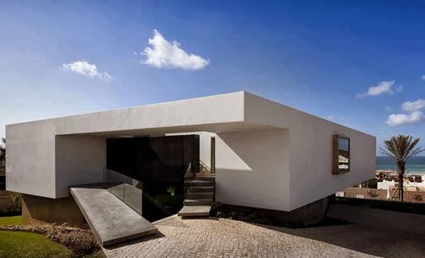 Fachada Y Planos De Una Casa Moderna Frente Al Mar