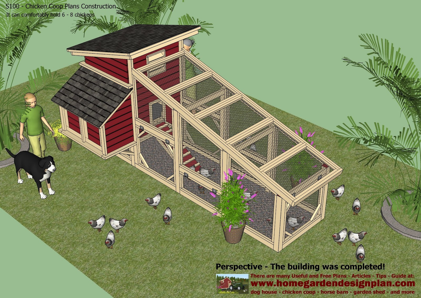 Home garden plans s100 chicken coop plans construction for Chicken coop size for 6 chickens
