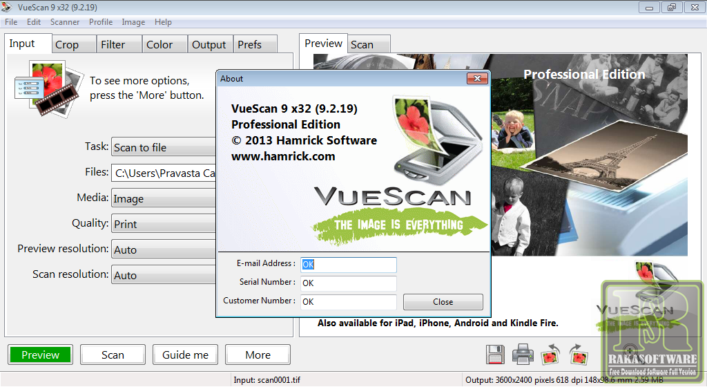 Vuescan 9.2.23 Free Serial Number