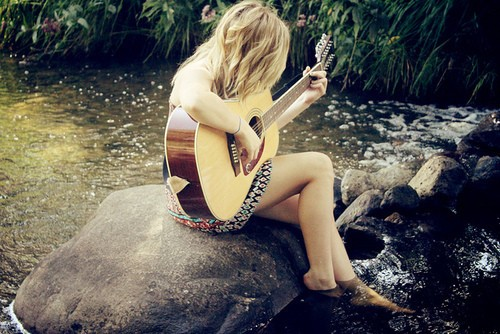 alone sad girl hurts guitar playing | 4loveimages