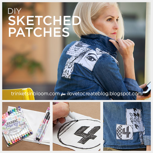 DIY Sketched Patched Shirt
