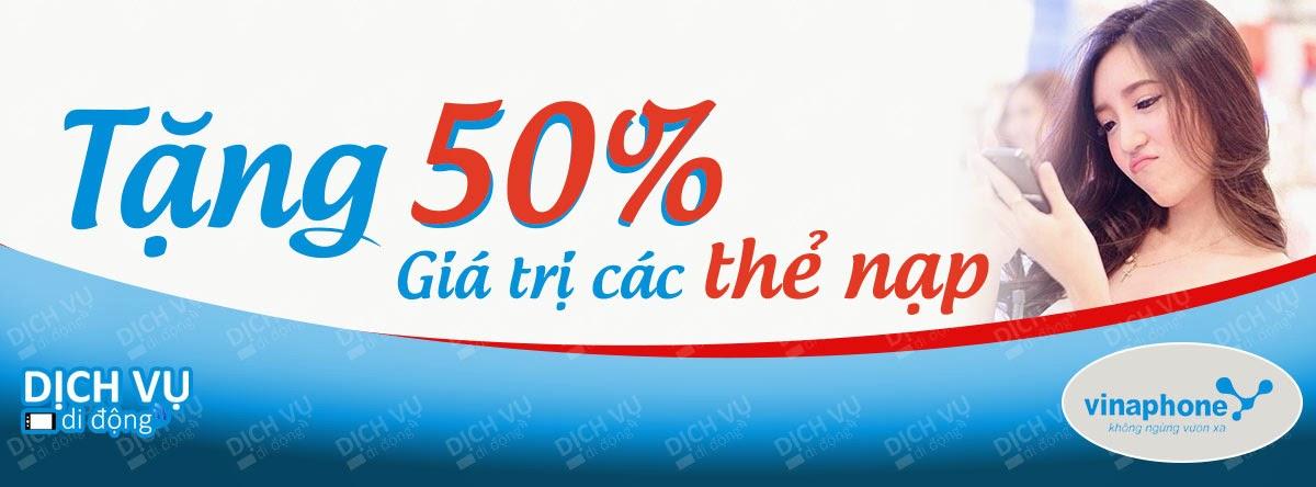 Vinaphone KM 50% giá trị thẻ nạp 01 ngày 31/03/2015