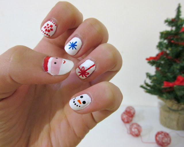 christmas nails, christmas nail art, easy nail art
