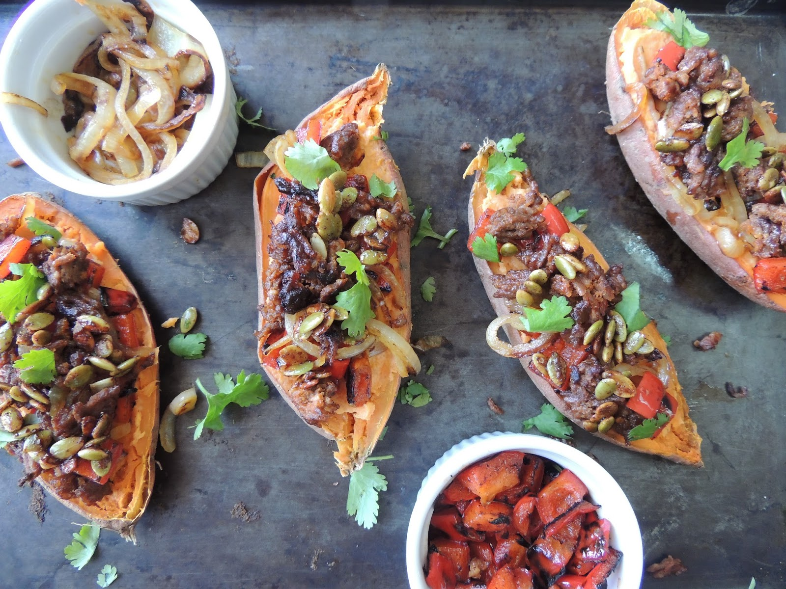 Happy Plate: Sweet Potatoes Loaded with Chorizo, Caramelized Peppers ...