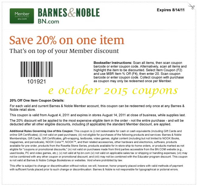 Barnes and noble printable coupons october 2018