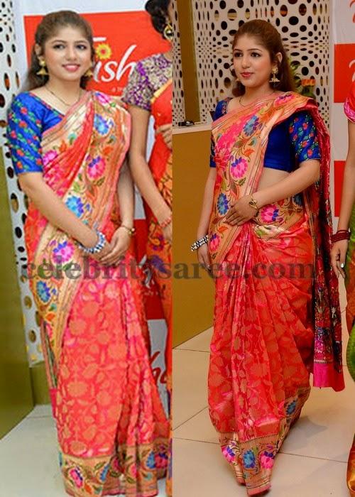 Pink Floral Pythani Silk saree