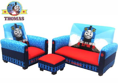 Thomas the train playroom furniture set for boys sofa chair and ottoman bedroom seating arrangement