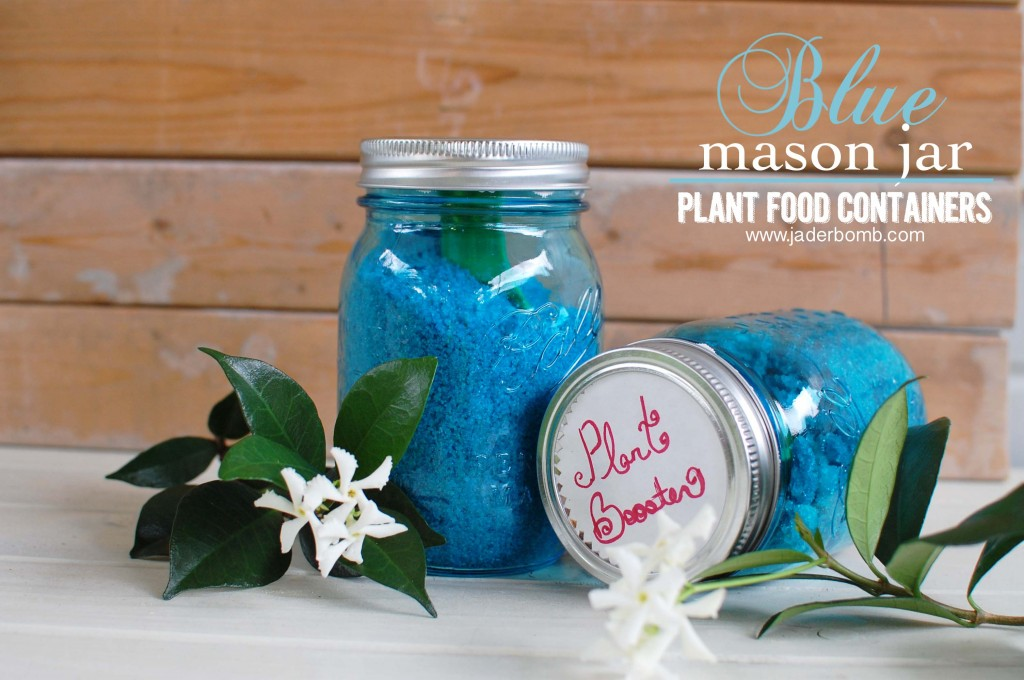 http://jaderbomb.com/2013/06/15/blue-mason-jar-plant-food-containers/