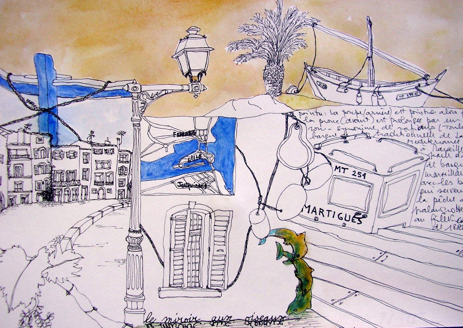 Cours de dessin et de peinture carnets de voyage for Restaurant le miroir aux oiseaux martigues