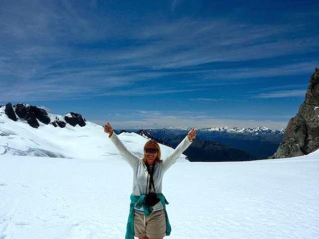 Holiday Nomad on top of Mt Tutoko Glacier in Fiordland NP New Zealand