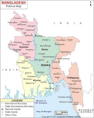 Mapa de Bangladesh Mapa Región